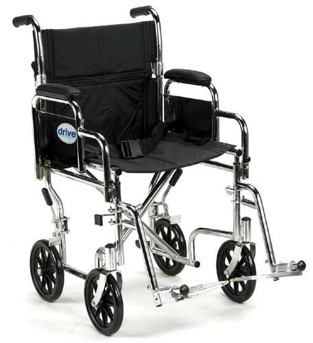 Wheelchair Transport 17  w/Rem Desk Arms  Silver Vein