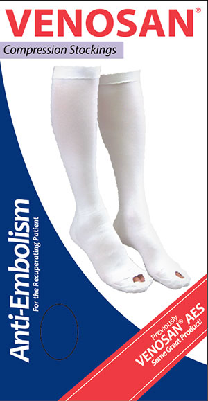 Venosan Anti-Embolism Long Knee Compression Stockings - Open Toe -  12-18 mm Hg