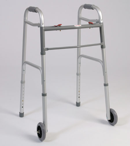 Alex Orthopedic W5 - Dual Button Folding Walker With Wheels