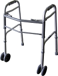 "Alex Orthopedic Bariatric Dual Button Folding Walker With 5"" Wheels"