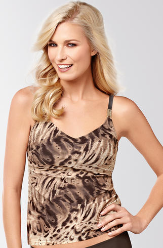 Amoena Atlantic Ocean Tankini Top Brown/Gold (Mastectomy)