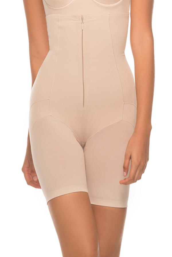 Annette Women's Extra Firm Control High Waisted Mid Thigh Cincher with Invisible Zipper Shaper