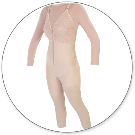 ContourMD Ankle-Length Compression Body Shaper w/ Bra Top (Slit Crotch & Padded Zipper) - Stage 1 (29-ANKLBSBTP)