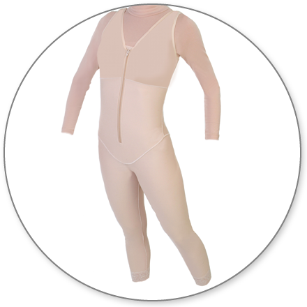 ContourMD Ankle-Length Compression Body Shaper w/ Sleeves (Slit Crotch & Front, Padded Zipper) - Stage 1 (29-BSANKWSP)