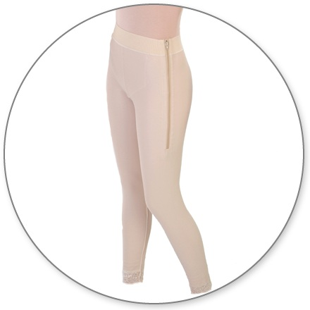 ContourMD Ankle-Length Compression Girdle w/ 2-inch Waist (Open Crotch & Side Zipper) - Stage 1 (5-ANK2P)