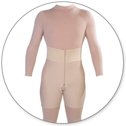 ContourMD Male Mid-Thigh Compression Brief w/ 4-inch Waistband (Open Crotch & Front Zipper) - 12-MBTHP