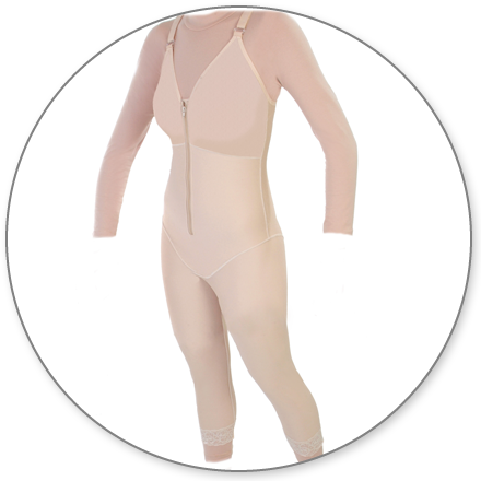 ContourMD Mid-Calf Compression Body Shaper (Slit Crotch & Padded Zipper) - Stage 1 (28-MCBSP)
