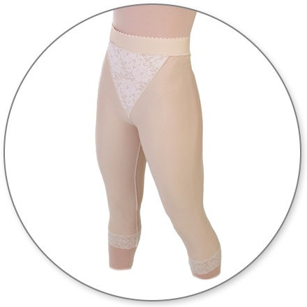 ContourMD Mid Calf Compression Girdle w/ 2 inch Waist (Open Crotch & No Zipper) - Stage 2 (15-MCOCP)