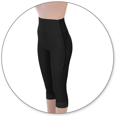 ContourMD Mid Calf Compression Girdle w/ 4 inch Waist (Open Crotch & Zipper) - Stage 1 (2-MC4P)