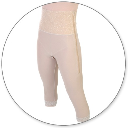 ContourMD Mid Calf Compression Girdle w/ 6 inch Waist (Slit Crotch & Side Zipper) - Stage 1 (26-MC6P)