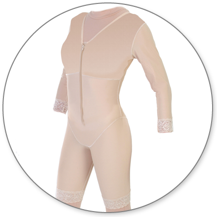 ContourMD Mid-Thigh Compression Body Shaper w/ Three-Quarter Length Sleeves (Slit Crotch & Front Zipper) - Stage 1 (27-MTBSWSP)
