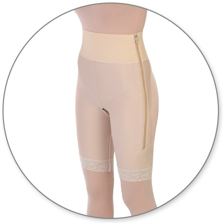 ContourMD Mid-Thigh Compression Girdle w/ 4-inch Waist (Open Crotch & Side Zipper) - Stage 1 (4-MT4P)