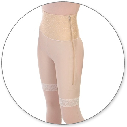 ContourMD Mid-Thigh Compression Girdle w/ 6-inch Waist (Open Crotch & Side Zipper) - Stage 1 (46-MT6P)
