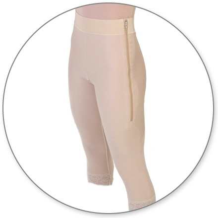 ContourMD Mid Calf Compression Girdle w/2 inch Waist (Open Crotch & Zipper) - Stage 1 (1-MC2P)