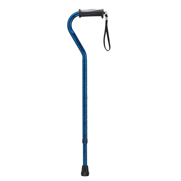 Drive Adjustable Height Offset Handle Cane with Gel Hand Grip