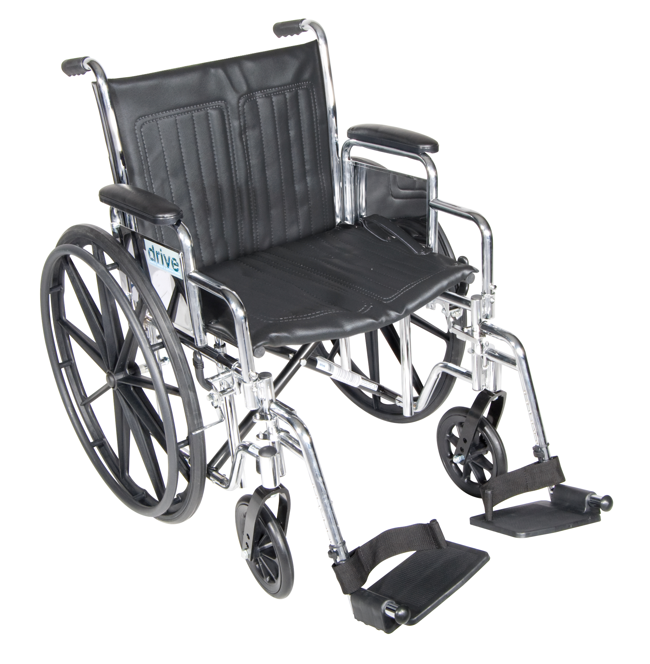 Drive Chrome Sport Wheelchair with Various Arm Styles and Front Rigging Options