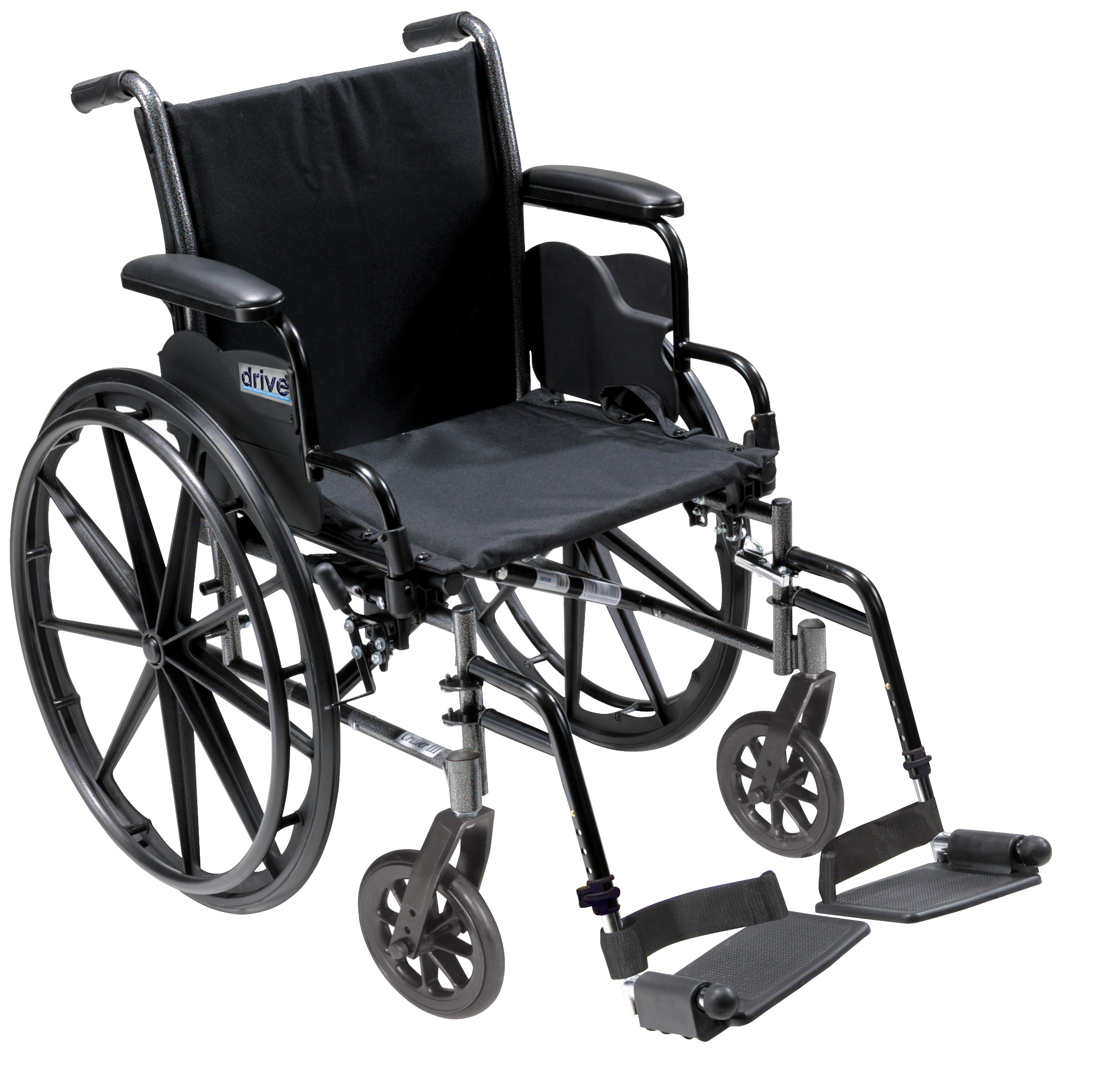 Drive Cruiser III Light Weight Wheelchair with Various Flip Back Arm Styles and Front Rigging Options