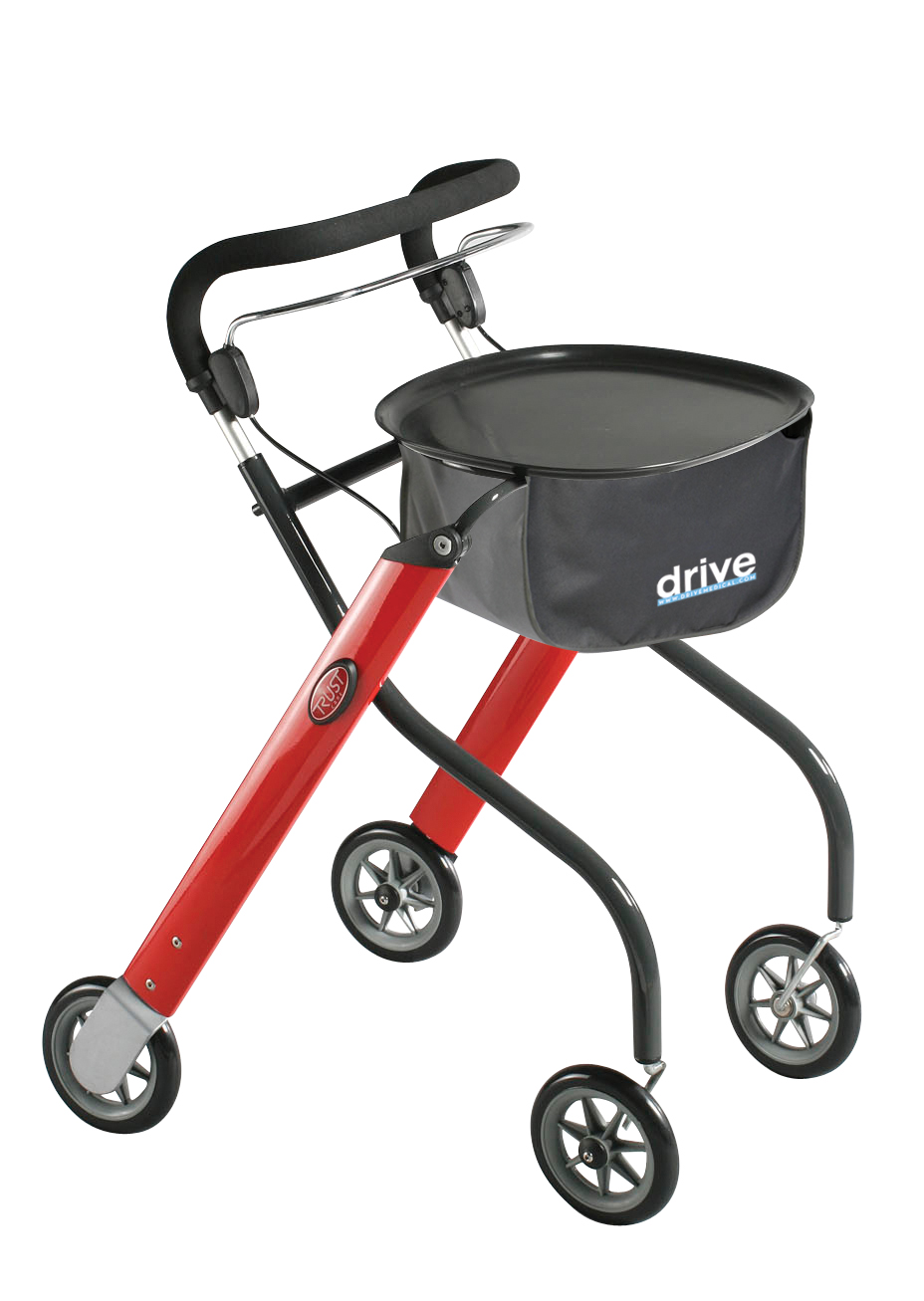 Drive let 39 s go lightweight mobility walker rollator red for Mobility walker