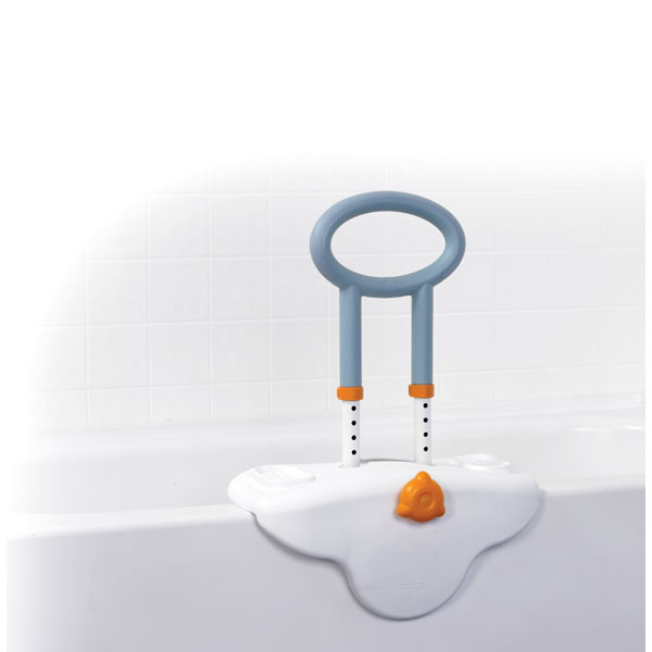 Drive Michael Graves Clamp On Height Adjustable Tub Rail with Soft Cover Soap and Shampoo Dish