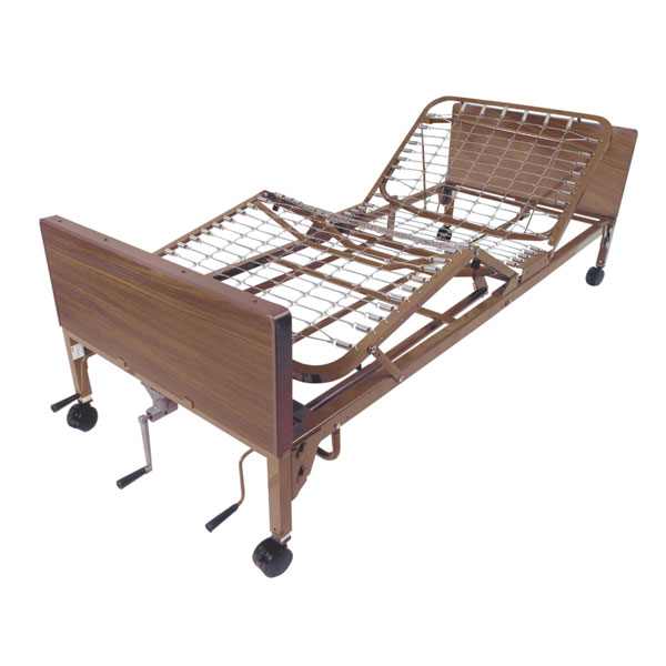 Drive Multi Height Manual Hospital Bed- Includes Full Rails and Innerspring Mattress
