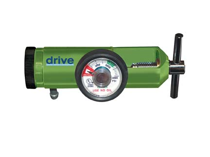 Drive Oxygen Mini Regulators with Liter Adjustment and Various Connection Styles- Liter Flow 0-8 Liter; - Barb Outlet; Size: Adult