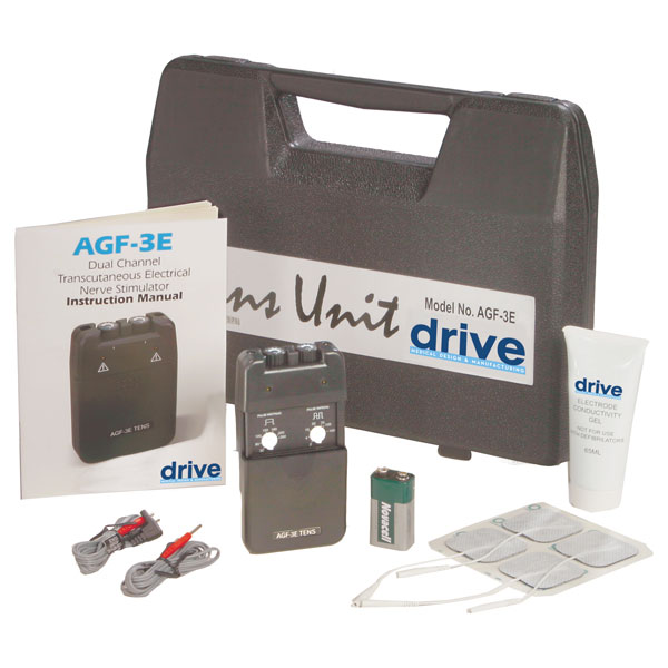 Drive Portable Dual Channel TENS Unit with Electrodes and Carry Case