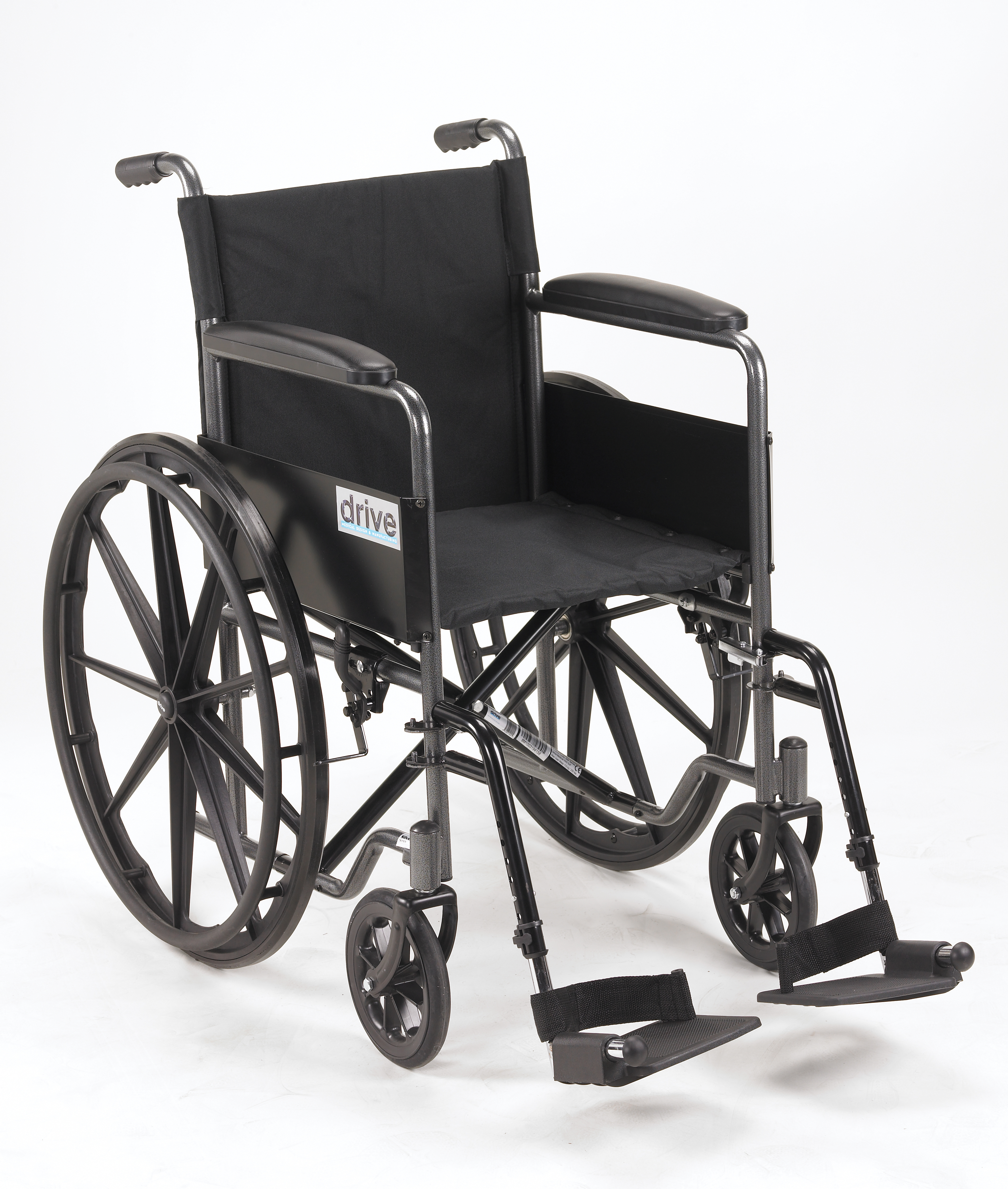 Drive Silver Sport 1 Wheelchair with Full Arms and Swing away Removable Footrest