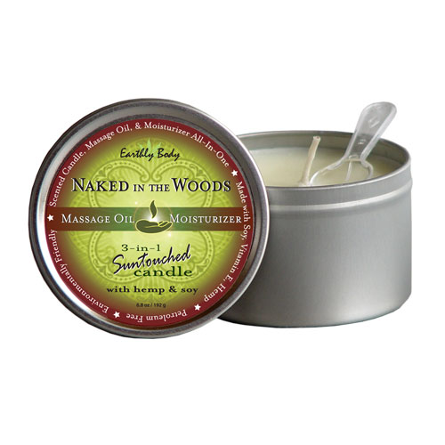 Earthly Body 3-in-1 Suntouched Candle Rounds - Naked In The Woods Scent - 6.8 oz.