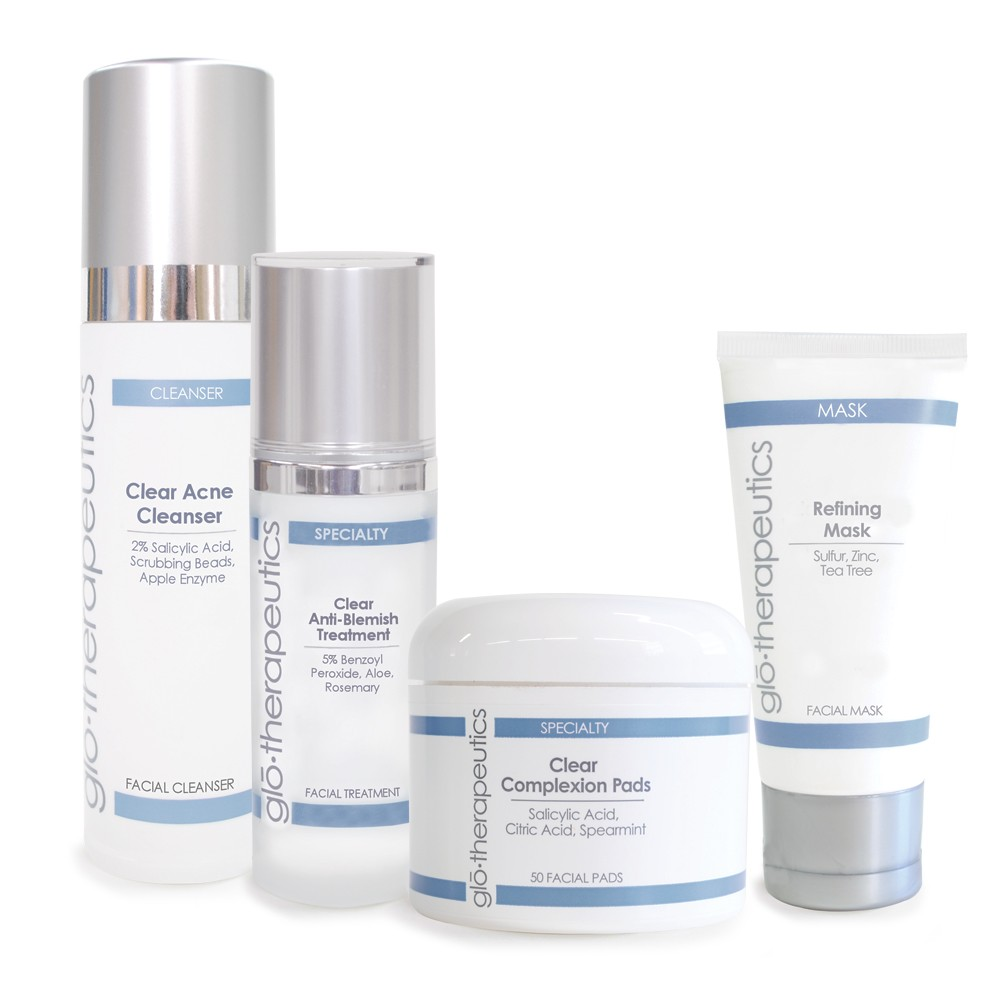 Glotherapeutics Clear Skin Kit (Clear Acne Cleanser, Clear Anti-Blemish Treatment, Refining Mask, Clear Complexion Pads) (by gloprofessional)