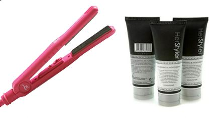 Herstyler Titanium Hair Straightener & Curler With Hair Shampoo & Conditioner Set ($210 Value)