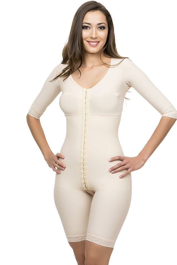 Full Body Suit Mid Thigh Length Plastic Surgery Compression Garment W/Bra - Stage 1