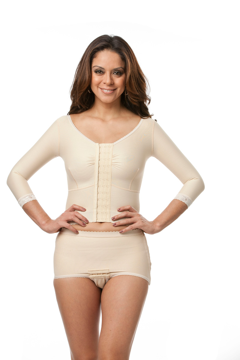 Long Sleeve Breast Surgery Support Bra/Vest w/2
