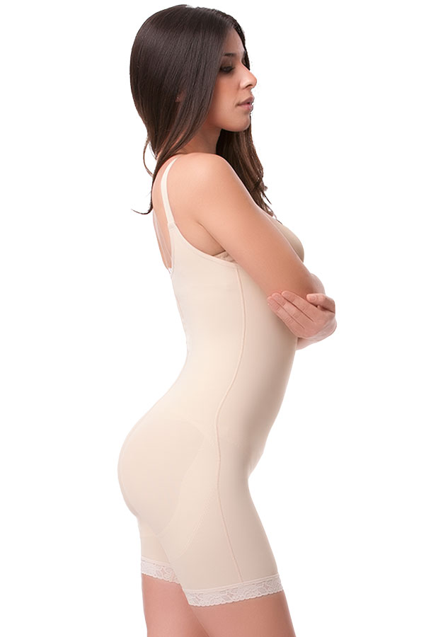High Back Mid Thigh Buttocks Enhancer Compression Girdle with Center Front Zipper