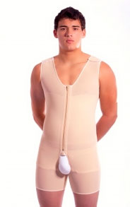 Male Mid-Thigh Full Body Cosmetic Surgery Compression Garment w/Zipper