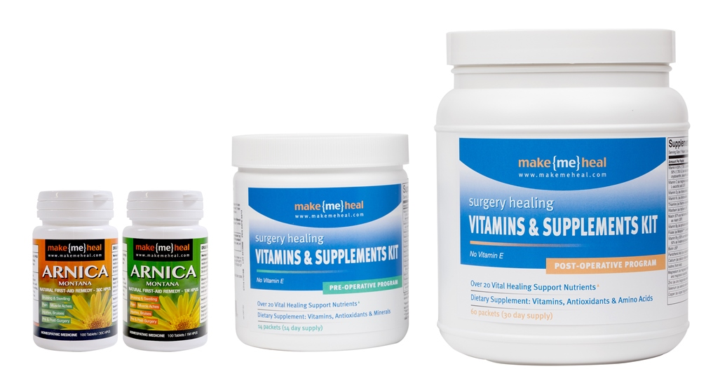 MakeMeHeal Healing Essentials Kit (Pre & Post-Operative Supplements, Vitamins & Arnica Montana Swelling & Bruising Kit)