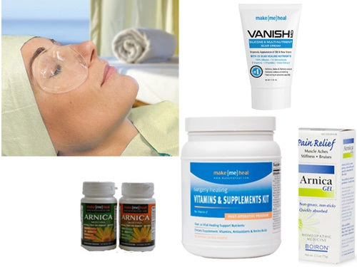 MakeMeHeal Deluxe Eye Healing Kit (Post-Op Vitamins/Supplements, Arnica Montana Pills & Cream, Swiss Eye Mask)