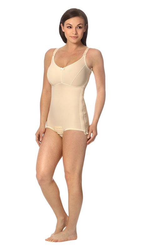 Full Body Brief Plastic Surgery Recovery Compression Garment w/ Bra (w/Zipper) - Stage One (Marena)