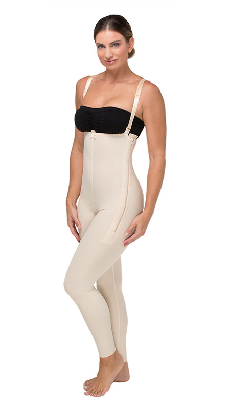 Marena Recovery High Back Mid Body Cosmetic Surgery Compression Garment w/Suspenders & Long Legs (W/No Lace)- Stage 1 (FBL)