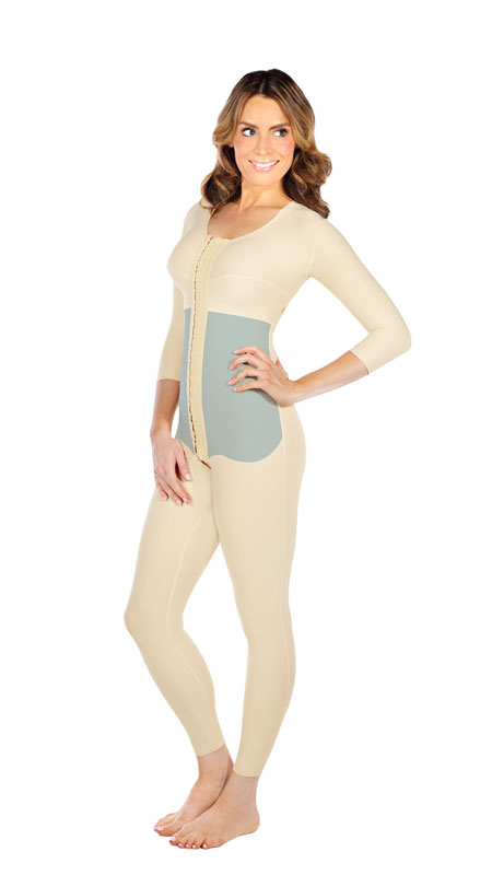 Full Body Plastic Surgery Compression Garment - Ankle Length W/ No Lace (w/ Bra & Armsleeve) (Marena)