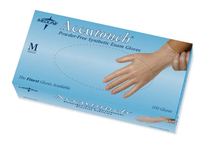 Accutouch Powder-Free, Latex-Free, Synthetic Exam Gloves, LG (box of 100)