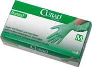 Curad Aloetouch powder-free latex exam gloves, MD (10 boxes)