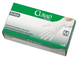Curad latex-free, powder-free, stretch synthetic vinyl gloves, MD (10 boxes)