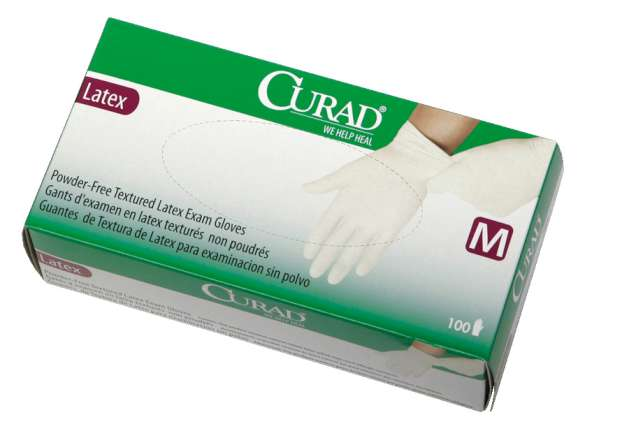 Curad powder-free latex exam gloves, large (10 boxes)