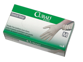 Curad powder-free stretch vinyl exam gloves, MD (1 box)