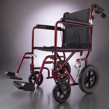 Deluxe Aluminum Transport Wheelchair (19in red)