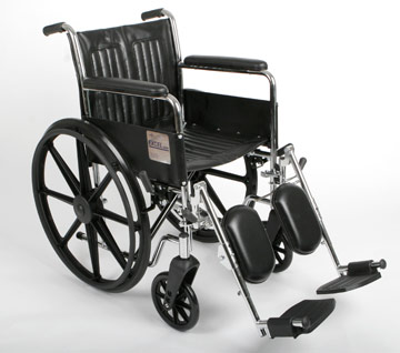Excel 2000 Wheelchair w/ Permanent Arms and Elevating Legrests (18in black)