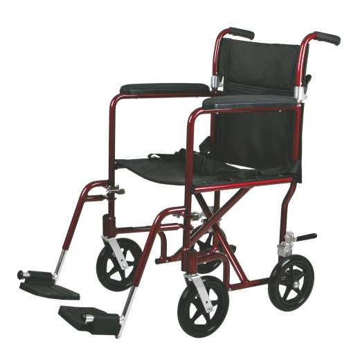 Excel Transport Wheelchair w/ Permanent Arms and Detachable Footrests (19