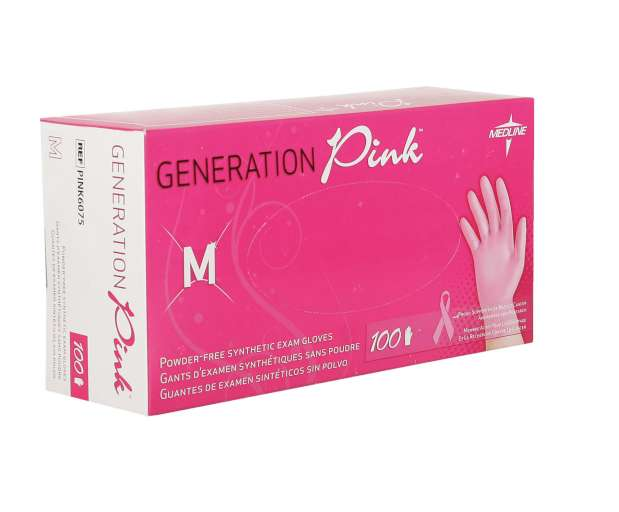 Pink Stretch Vinyl Exam Glove, Small