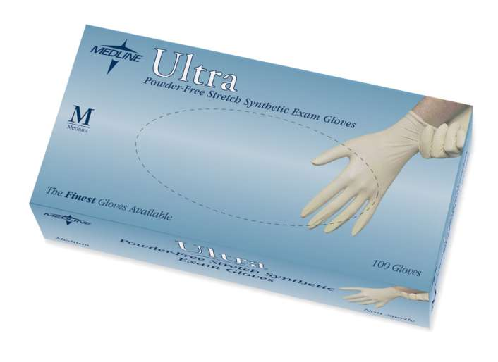 Ultra Powder-Free Stretch Synthetic Exam Gloves, Latex-Free, MD (10 boxes)