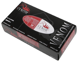 Venom Powder-Free Black Nitrile Exam Gloves, L (10 boxes)